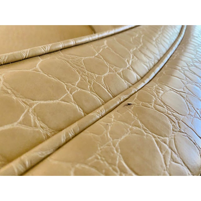 Semicircular Butter Sofa With Alligator Embossment For Sale - Image 11 of 13