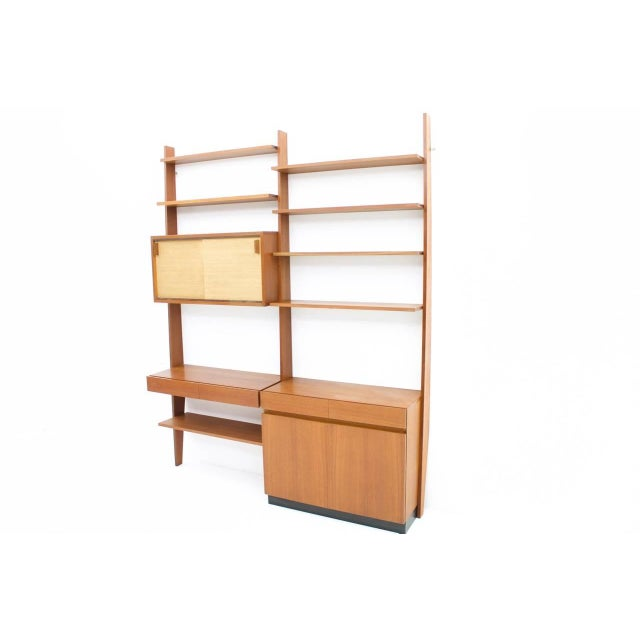 Mid-Century Modern Dieter Waeckerlin Shelf System Wall Unit in Teak Wood, Behr Germany, 1950s For Sale - Image 3 of 11