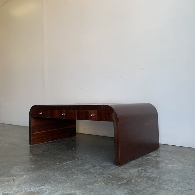 This item features six petite drawers of storage along both sided of the table, they do not connect, vintage original...