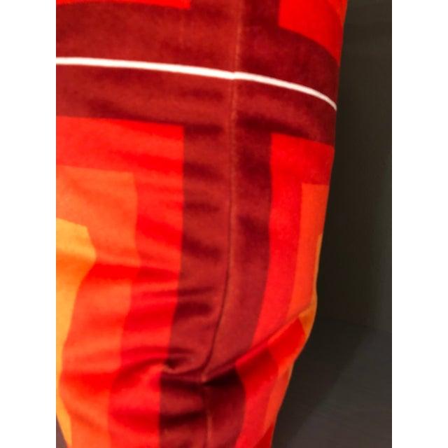 Contemporary Contemporary Handmade Orange Velvet Geometric Pillow For Sale - Image 3 of 8
