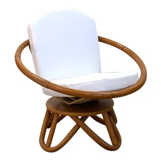 1950 Vintage Swivel Rattan Circle Chair For Sale