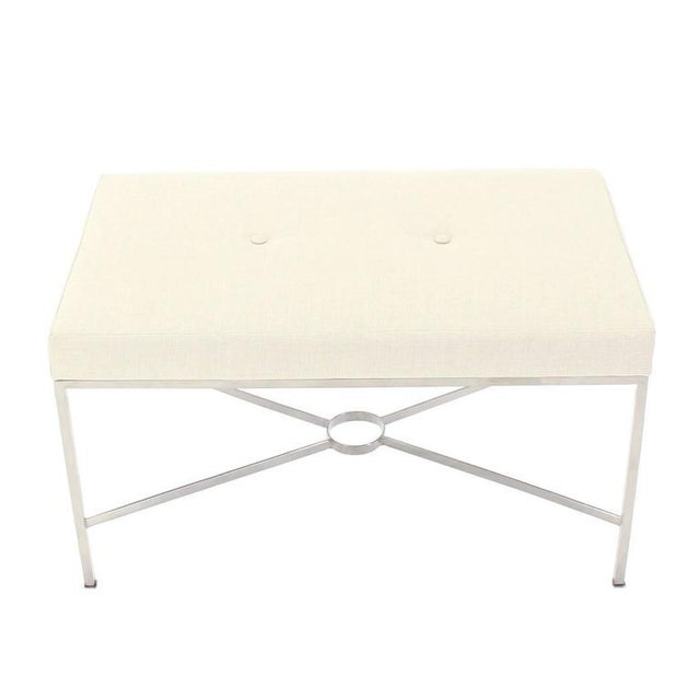 White Chrome X-Base Upholstered Top Bench For Sale - Image 8 of 9