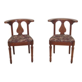 1960s Vintage Stickley Solid Cherry Occasional Chairs- A Pair For Sale