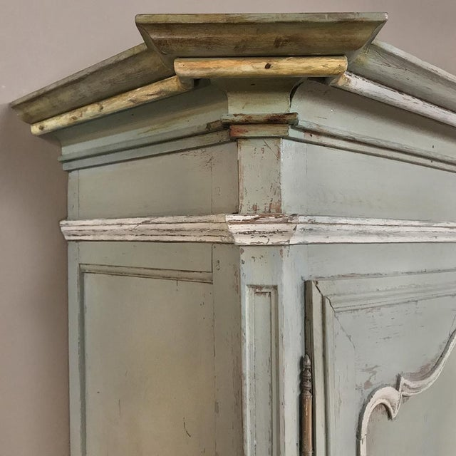 Green 18th Century Country French Painted Provincial Buffet a Deux Corps For Sale - Image 8 of 13