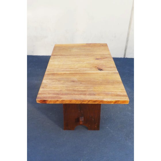 Rustic Mission Wood Slab Dining Table Desk For Sale In Los Angeles - Image 6 of 7