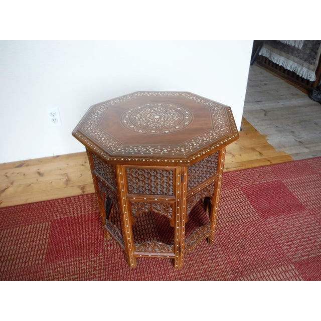 Islamic Arabic Style Carved and Inlayed Table For Sale - Image 3 of 9