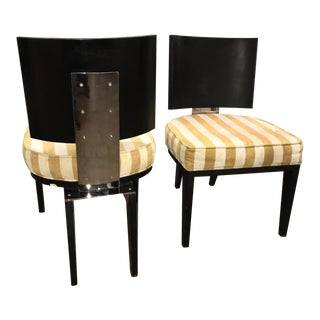 Judith Norman Directional Black Wood and Stainless Steel Club Chairs- A Pair For Sale