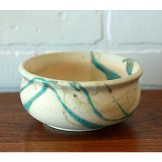 Turquoise and Cream Textured Glaze Studio Pottery Ceramic Low Bowl Preview