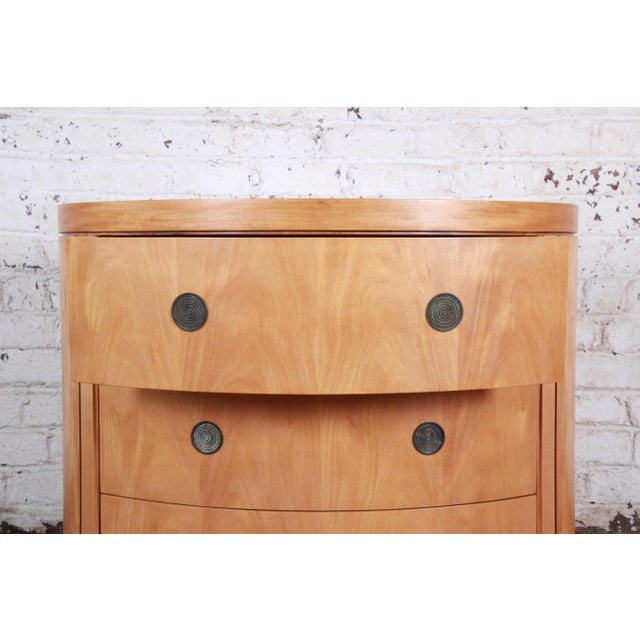 Metal Charles Pfister for Baker Art Deco Primavera Three-Drawer Oval Commode Bachelor Chest For Sale - Image 7 of 13