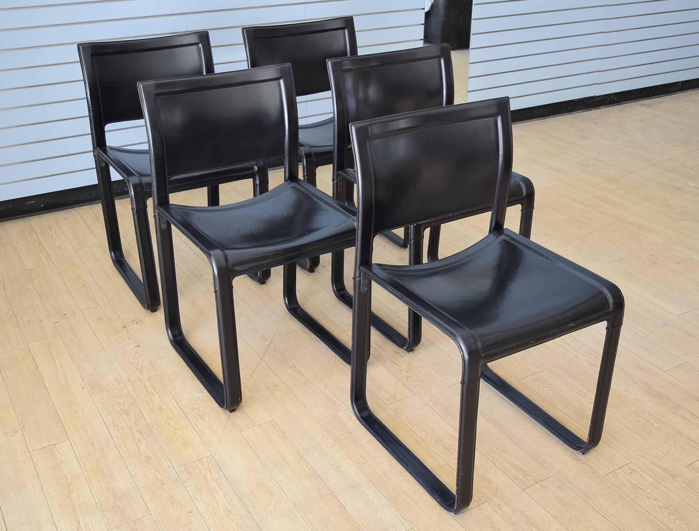 Matteo Grassi Sistina Strap Black Leather Dining Chairs   Set Of 5   Image  2 Of