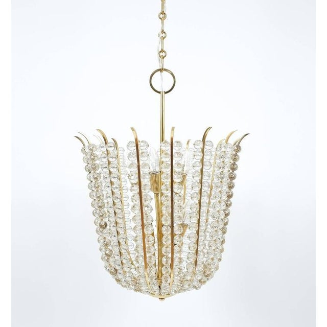 Gold Majestic Basket Crystal and Brass Chandelier Bakalowits, circa 1950 For Sale - Image 8 of 9