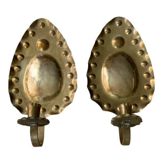 Hand Crafted Swedish Hammered Brass Mid Century Sconces - a Pair For Sale