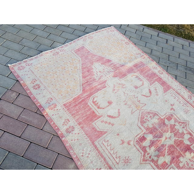 """Textile Distressed Red and Yellow Turkish Rug 4'1"""" X 8'6"""" For Sale - Image 7 of 12"""