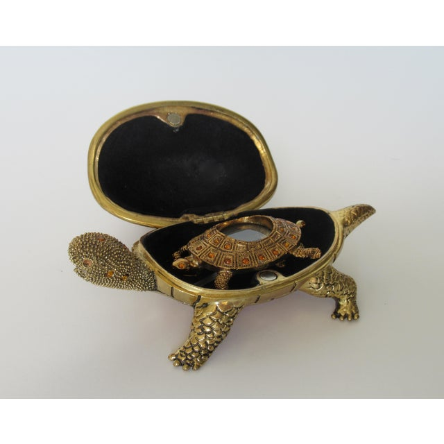 Yellow Greek Key Gilt Brass Bejeweled Turtle Lidded Keepsake Box, Letter Opener & Magnifier Set in One - 3 Pieces For Sale - Image 8 of 13
