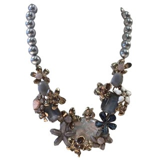 Philippe Ferrandis Glass Pearl and Crystal Floral Motif Necklace For Sale