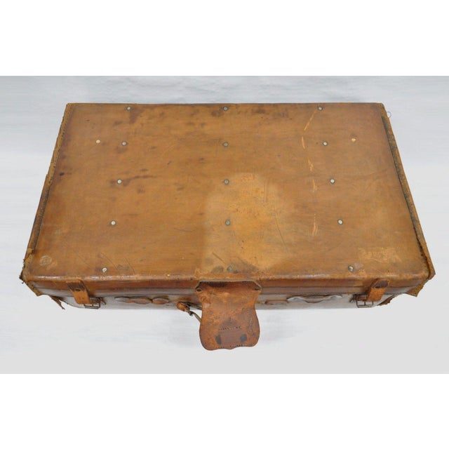 Brown Antique 11.5 X 33 X 20 Large Brown English Leather Hard Luggage Suitcase Trunk For Sale - Image 8 of 10