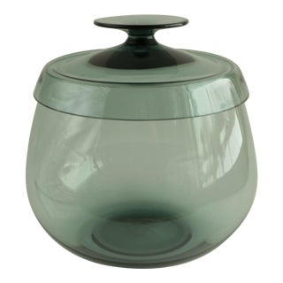 Mid-Century Smoked Glass Covered Bowl For Sale