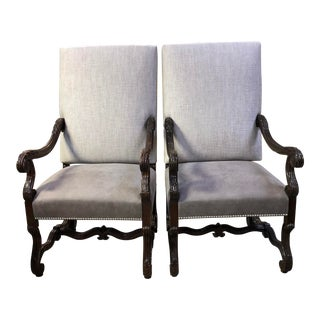 Antique 1903 Hand Carved Walnut Louis XIV Os De Mouton Dining Armchairs - a Pair For Sale