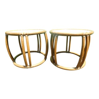 Mid-Century Modern McGuire Rattan Side Tables - a Pair For Sale