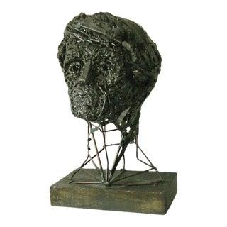 Vintage Brutalist Forged and Welded Steel Portrait Bust For Sale