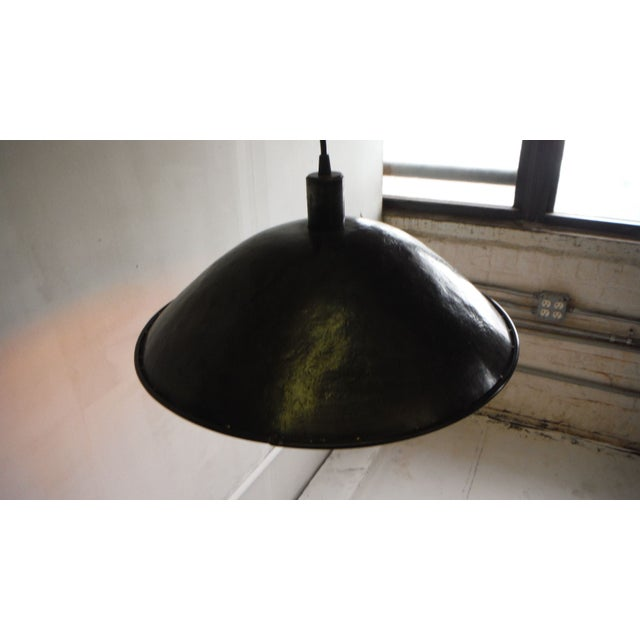 Get the handmade, industrial-chic look with this large hammered steel pendant light. Hand formed in Brooklyn using vintage...
