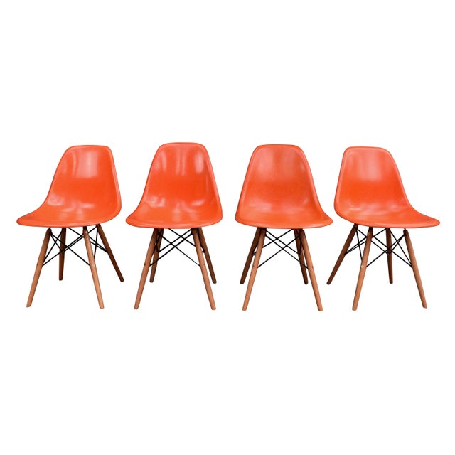 Vintage Fiberglass Charles Eames for Herman Miller Chairs - Set of 4 For Sale - Image 10 of 10