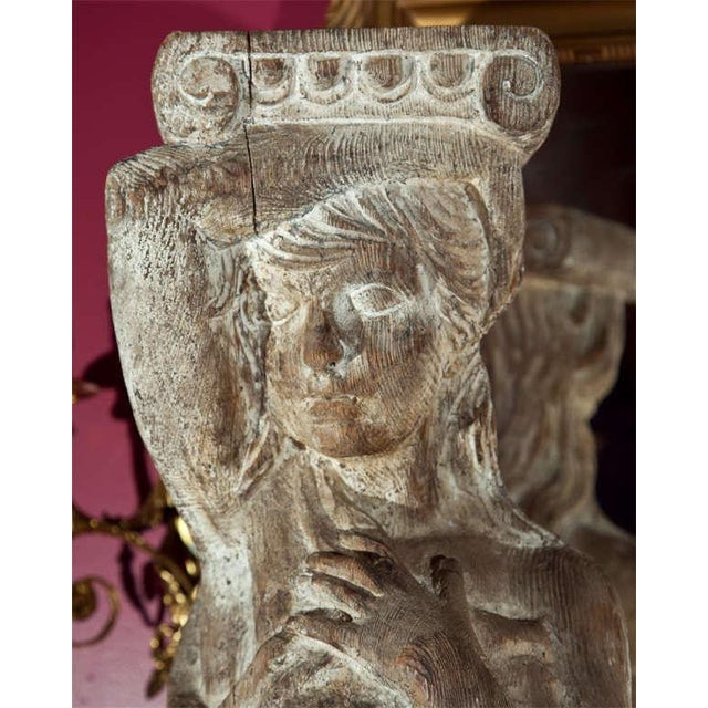 1960s Carved Solid Wood Figure or Pedestal For Sale - Image 5 of 8