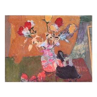 Victor DI Gesu, 'Still Life of Roses', California Post-Impressionist Still Life, Louvre, Lacma, Circa 1955 For Sale