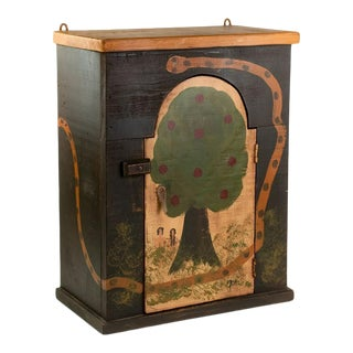 Arts and Crafts Adam and Eve Painted Shelf Cabinet For Sale