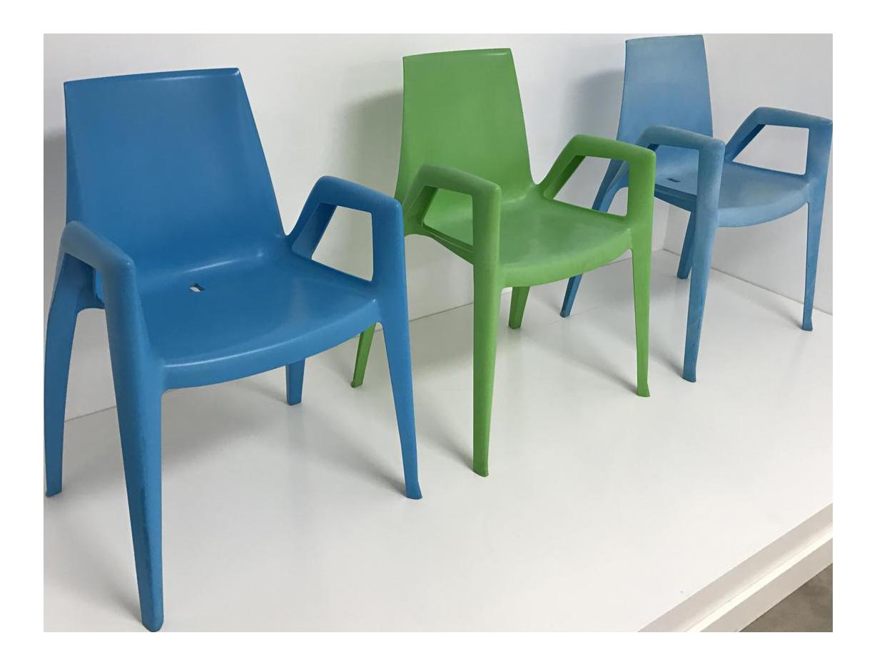 Heller Arco Blue U0026 Green Bellini Arm Chairs   Set Of 3