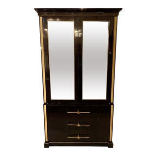 Tommi Parzinger Showcase Cabinet, Vitrine or Bookcase. Ebony, Hollywood Regenc For Sale