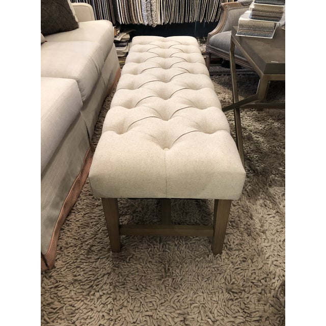 2010s Marcy Linen Bench For Sale - Image 5 of 7