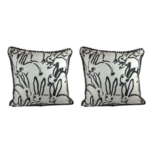 "Hunt Slonem ""Bunny Hutch"" in Black & White Pillows - a Pair - Image 1 of 5"