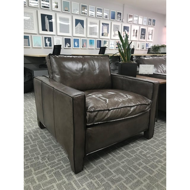 Gray Leather Lounge Chair For Sale In San Francisco - Image 6 of 6
