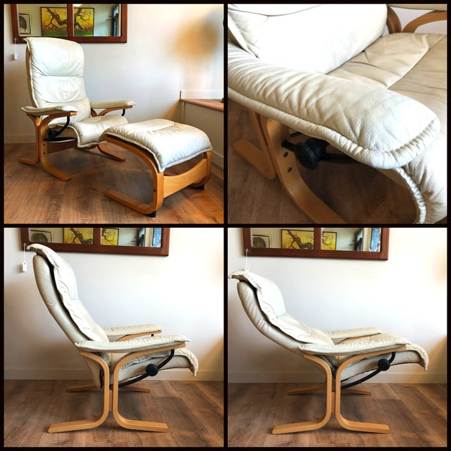 Mid-Century Modern Ingmar Relling for Ekornes Vintage Leather Siesta Recliner Chair With Ottoman For Sale - Image 3 of 9