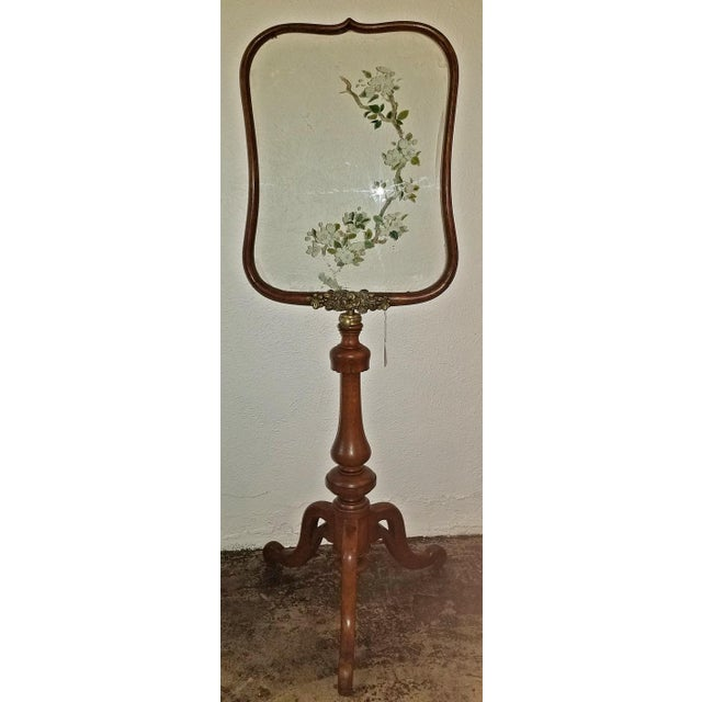 19c Telescopic or Extendable Tripod Based Fire Screen - Walnut With Hand Painted Glass For Sale - Image 4 of 13