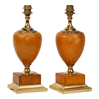 Italian Art Deco Patinated Leather and Brass Table Lamps, Pair For Sale