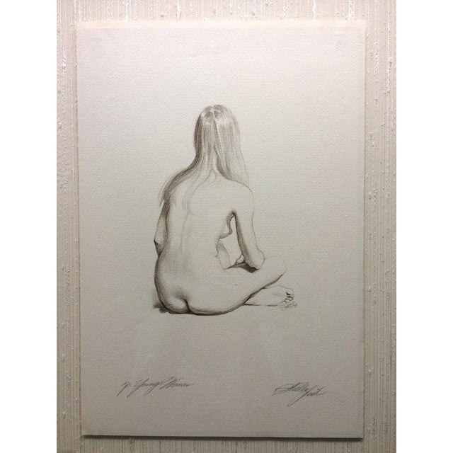 Nude Sitting signed and dated '68. 11x16 framed 15.1/4 x 20.1/4 Sheldon (Shelly) Fink was born in 1925 in Brooklyn, NY. He...