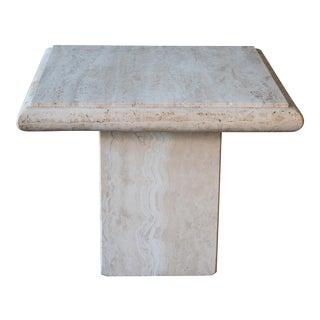 1980s Mid Century Italian Travertine Side Table For Sale