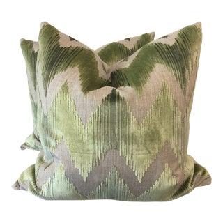 "Lee Jofa ""Watersedge"" in Green 22"" Pillows-A Pair For Sale"