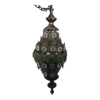 1970s Moorish Pierced Brass Hanging Light With Iridescent Glass Accents For Sale
