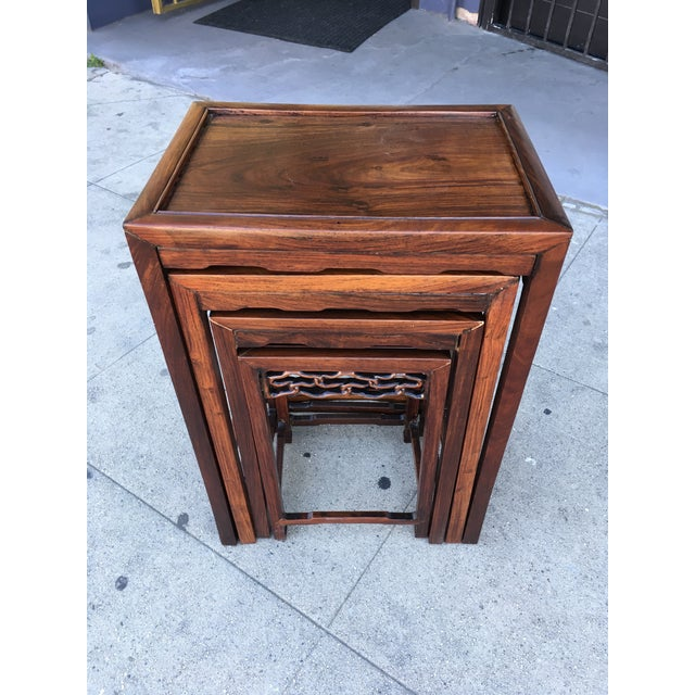 Chinese 20th Century Chinese Rosewood Nesting Tables - Set of 4 For Sale - Image 3 of 12