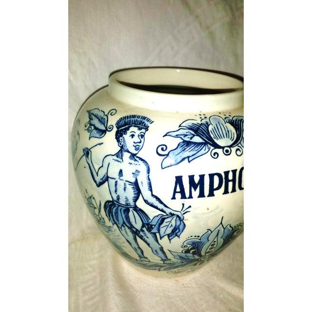 "Mid-Century Modern Blue Delft ""Amphora"" Hand Painted Porcelain Jar For Sale - Image 3 of 8"