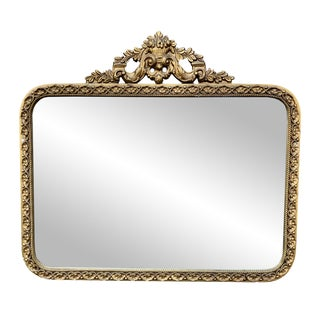 Early 20th Century Antique Rococo Gold Gilded Ornate Floral Motif Oval Mirror For Sale
