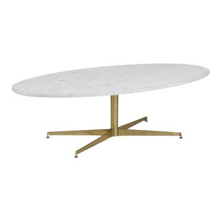 Florence Knoll-Style Carrera Marble Oval Coffee Table For Sale