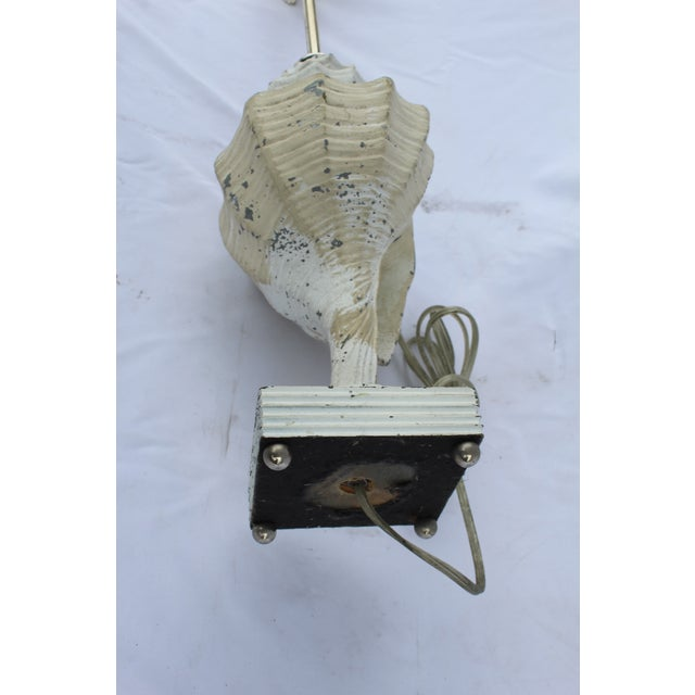 Metal Original White Metal Conch Shell Lamp For Sale - Image 7 of 8