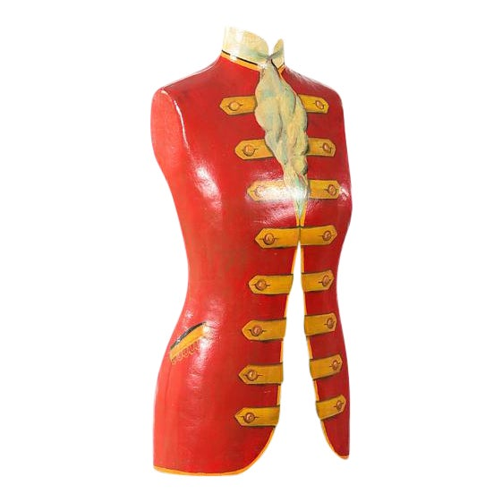 19th century Antique Mannequin Painted Torso Form w/Cast Iron stand For Sale