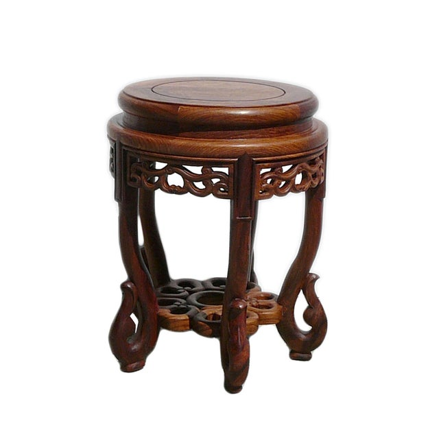 Chinese Huali Rosewood Round Scroll Leg Stool - Image 1 of 5