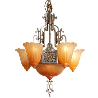 "6- Light Sears ""Fleur-De-Lis"" Chandelier by Lincoln Circa 1934"
