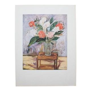 Mid Century Original Flower Still Life Print by M. Utrillo For Sale